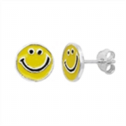 Sterling Silver enamelled happy face Stud Earrings